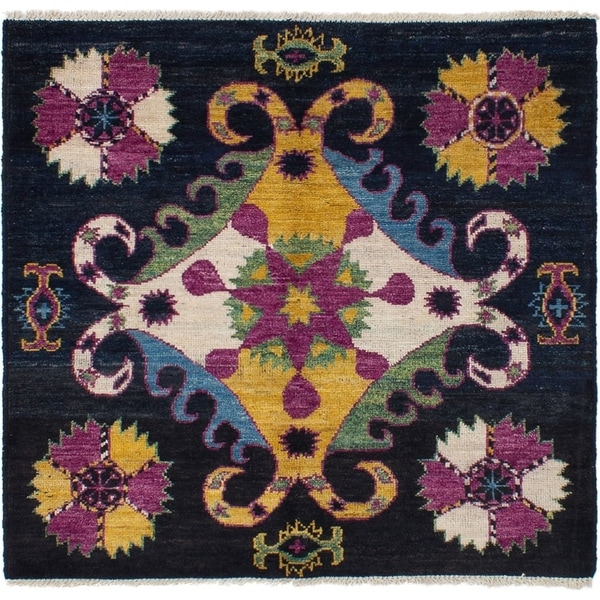 ECARPETGALLERY Hand-knotted Shalimar Black, Purple Wool Rug