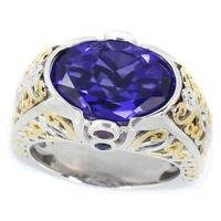 Michael Valitutti Palladium Silver Tanzanite Quartz & Multi Gemstone with Diamond Ring