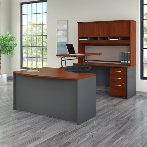 Series C 60W Right Sit to Stand U Shaped Desk Office Suite in Cherry