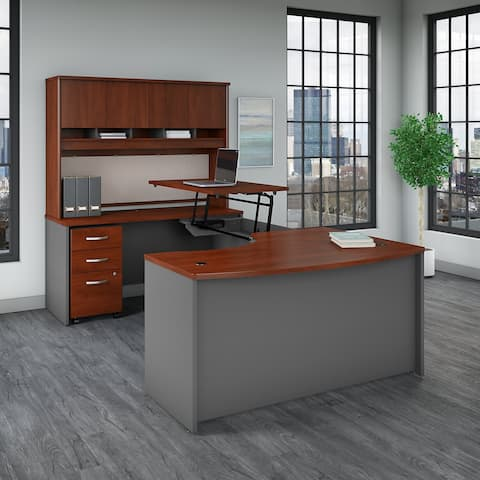 Series C 60W Left Sit to Stand U Shaped Desk Office Suite in Cherry