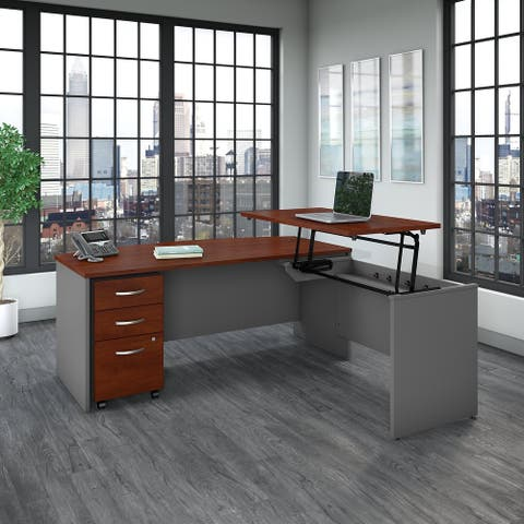 Series C Bow-front Sit-to-Stand L-shaped Cherry Office Suite