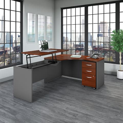 Series C 60W Left Sit to Stand L Shaped Desk Office Suite in Cherry