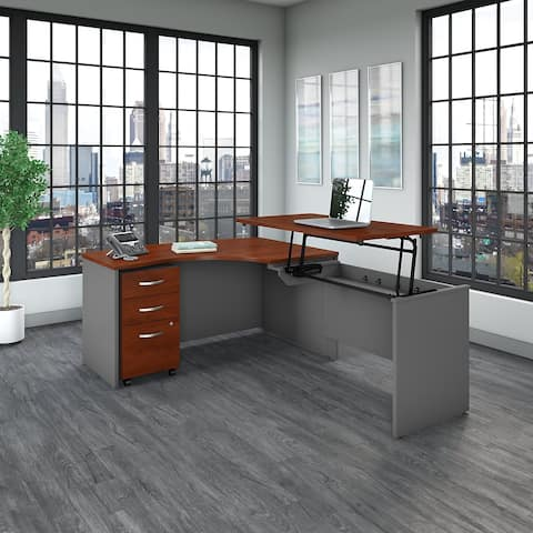 Series C 60W Right Sit to Stand L Shaped Desk Office Suite in Cherry