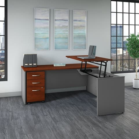 Series C 72-inch Sit-to-Stand L-shaped Office Desk Set