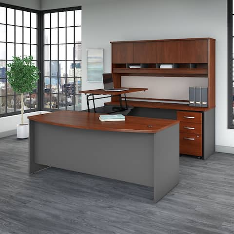 Series C 72W Sit to Stand Bow U Shaped Desk Office Suite in Cherry