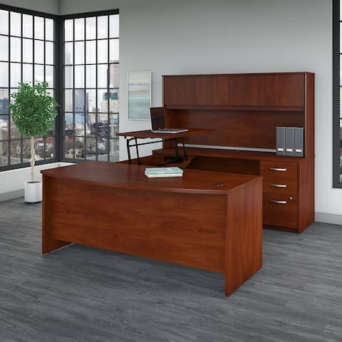 Series C Elite 72W Sit to Stand U Shaped Desk Office Suite in Cherry