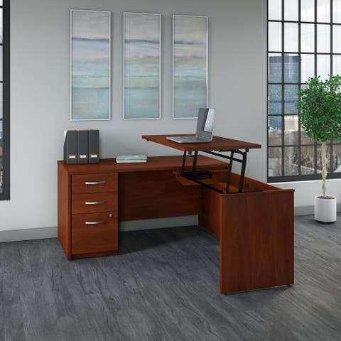 Series C Elite 60W Sit to Stand L Shaped Desk Office Suite in Cherry