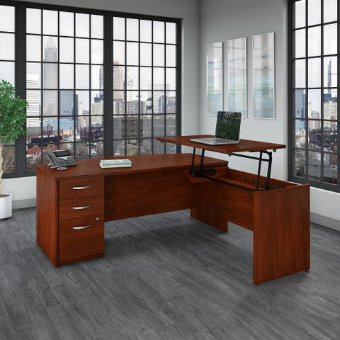 Series C Elite Sit to Stand Bow L Shaped Desk Office Suite in Cherry