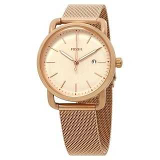 Fossil Women's ES4333 The Commuter Rose Gold Stainless Steel Mesh Bracelet Watch