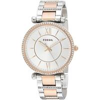 Fossil Women's ES4342 Carlie Silver Dial Crystal-Set Two-Tone Stainless Steel Bracelet Watch