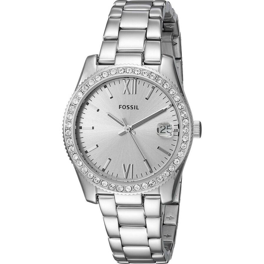 Fossil Women S Es4317 Scarlette Silver Dial Stainless Steel Bracelet Watch