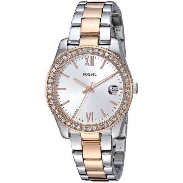 Fossil Women's ES4372 Scarlette Silver Dial Two-Tone Stainless Steel Bracelet Watch