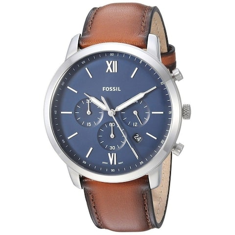 Fossil Men's FS5453 Neutra Chronograph Blue Dial Brown Leather Watch