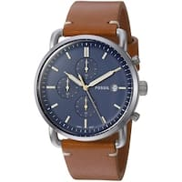 Fossil Men's FS5401 The Commuter Chronograph Blue Dial Light Brown Leather Watch