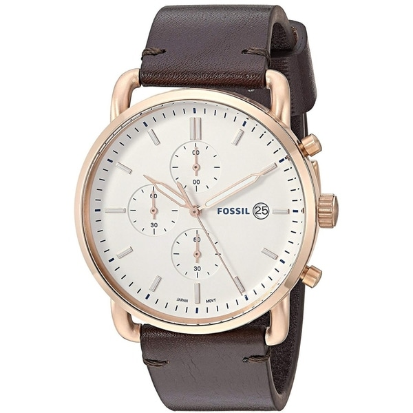 92a7981bf8 Shop Fossil Men s FS5476 The Commuter White Dial Dark Brown Leather Watch -  Free Shipping Today - Overstock - 25659930