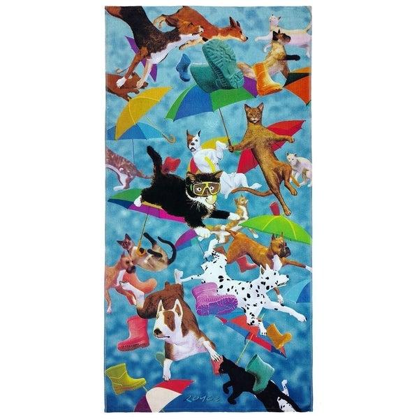 Kaufman-Raining Cats and Dogs Beach/Pool Towel 30x60.Set of 2