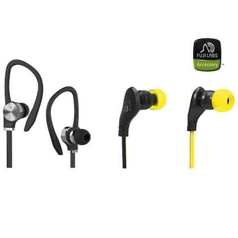 Fuji Labs AUFJ-SQNBS306 AUFJ-SQNMS203 Sonique 2-in-1 Headphones Bundle