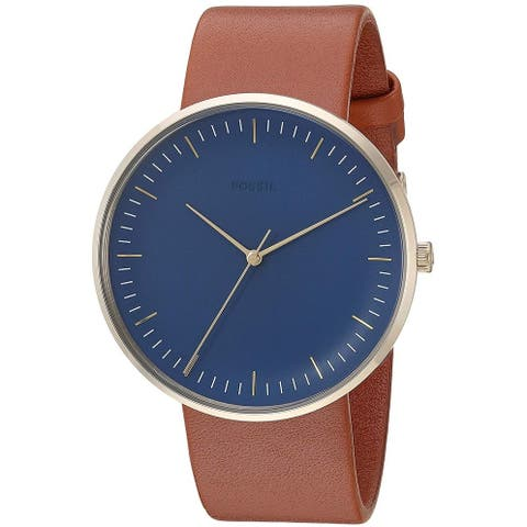 Fossil Men's FS5473 Essentialist Blue Dial Brown Leather Watch