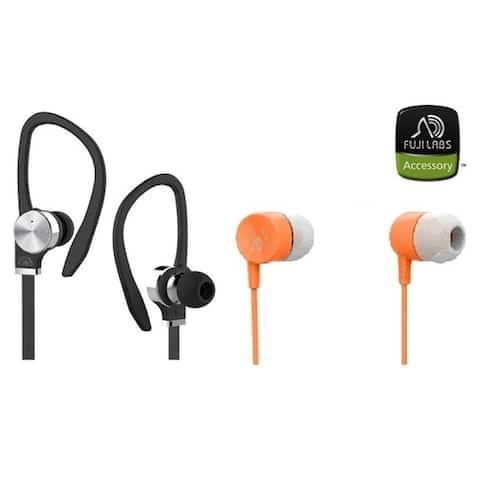 Fuji Labs AUFJ-PSQWTS306BK and AUFJ-SQWMS101Sonique 2-in-1 High Grade In-Line Headphones BUNDLE