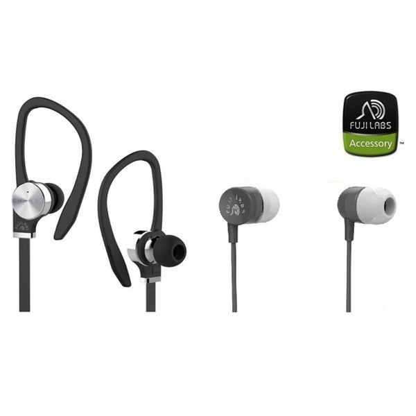 Fuji Labs AUFJ-SQWTS306BK and AUFJ-SQWMS101 Sonique 2-in-1 High Grade In-Line Mic Headphones BUNDLE