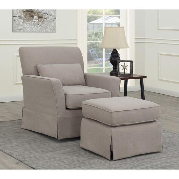 Shop Emerald Home Roxbury Putty Swivel Glider Chair ...