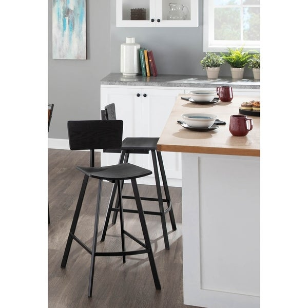 Carbon Loft Zawe Industrial Wood and Metal Counter Stool (Set of 2) - N/A. Opens flyout.
