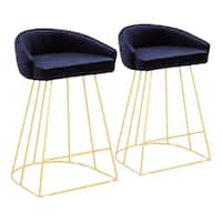 Canary Contemporary-Glam Velvet Upholstered Counter Stool (Set of 2)