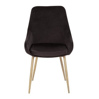 LumiSource Diana Chair in Velvet and Satin Brass Metal (Set of 2)