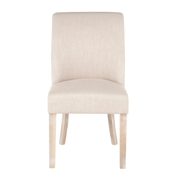 LumiSource Tori Farmhouse Upholstered Dining Chair with White Washed Wood (Set of 2)