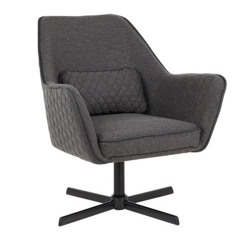Silver Orchid Alba Black Metal and Fabric Swivel Lounge Chair