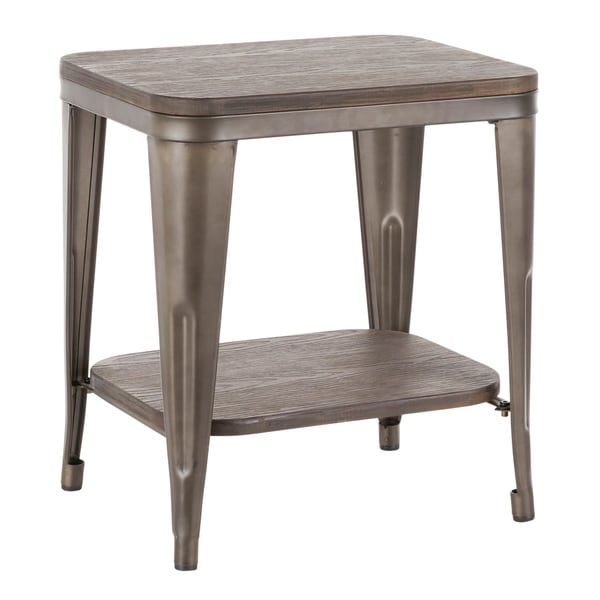 LumiSource Oregon Industrial Wood & Metal End Table