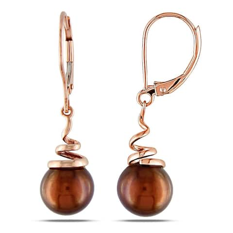 Miadora 14k Pink Gold Brown Cultured Freshwater Pearl Earrings (8-8.5 mm)