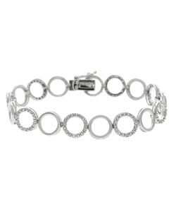 DB Designs Sterling Silver Diamond Accent Circle Bracelet