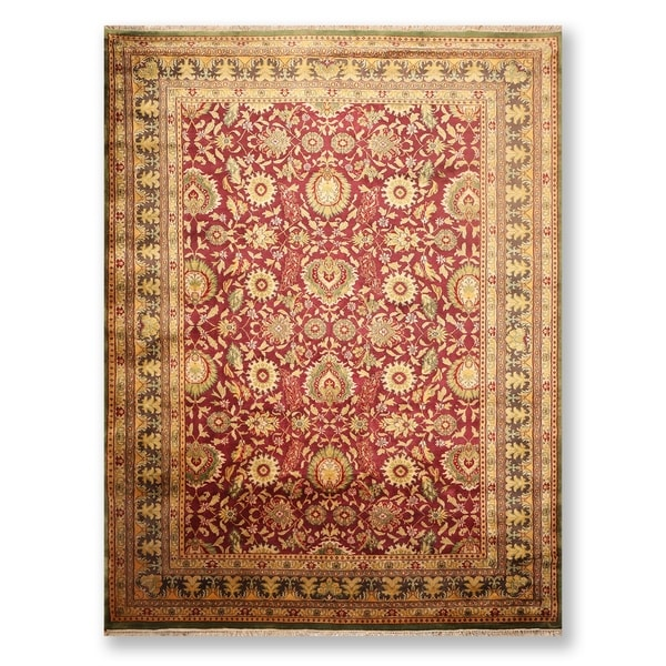 """Hand Knotted Agra Tea wash Wool Persian Oriental Area Rug (9'1""""x12'5"""") - 9'1"""" x 12'5"""""""