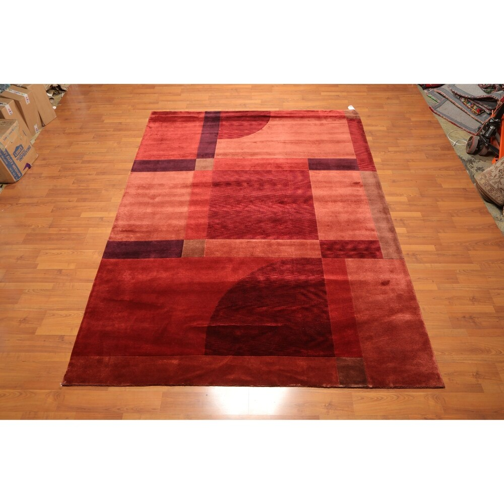 Overstockcontemporary Hand Knotted Wool Tibetan Area Rug 8 X10 10 8 X 10 10 Burgundy Rusty Red 8 X 10 10 Dailymail