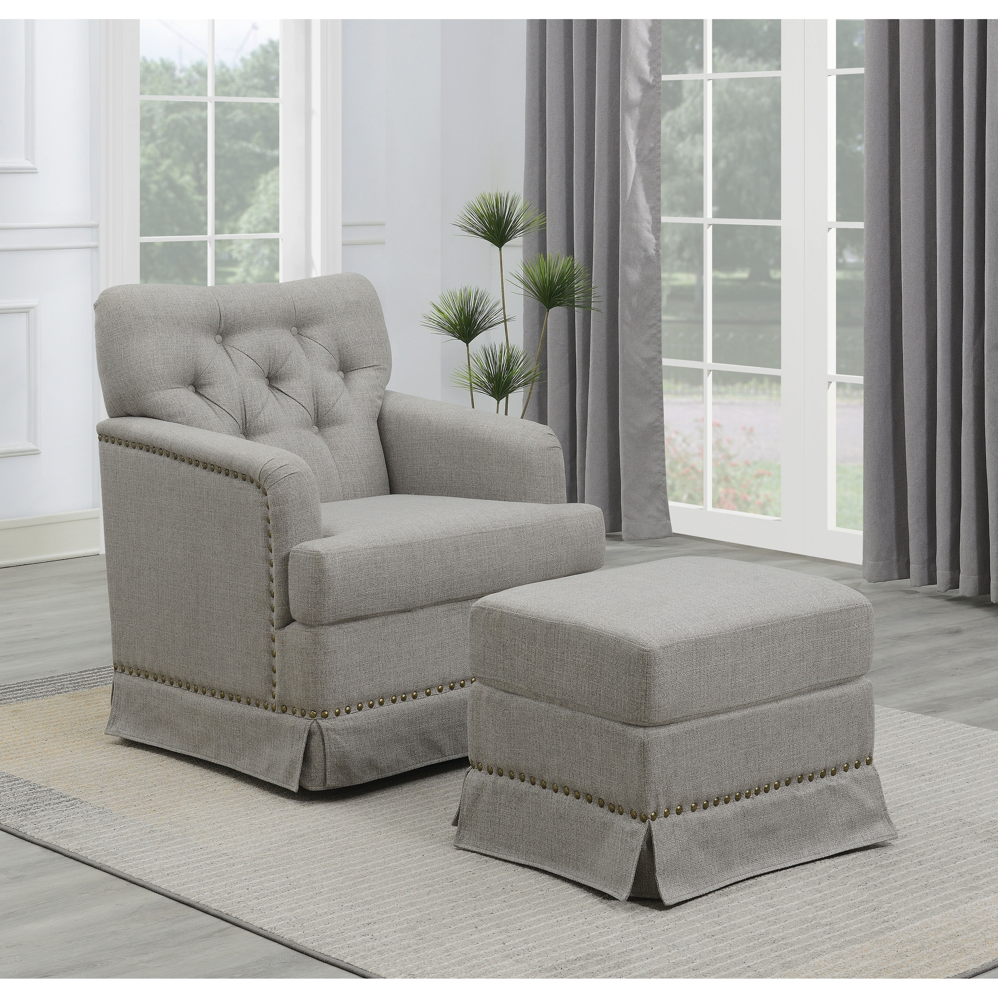 Emerald Home Ashdale Cement Swivel Glider Chair Ottoman Set