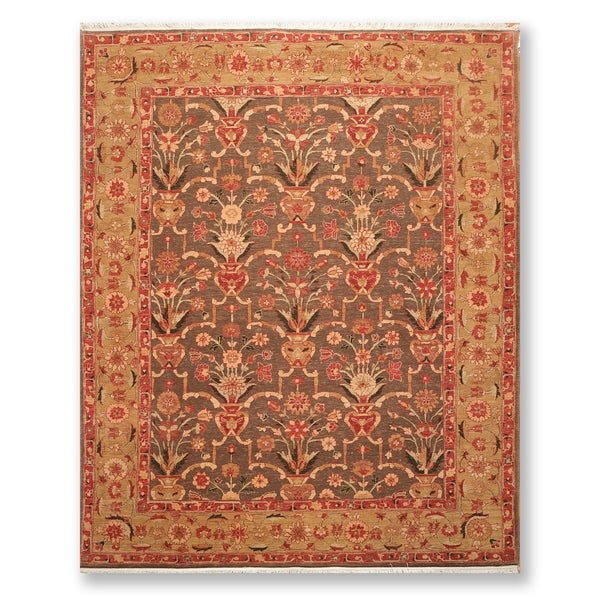 "Traditional Vase Design Hand Knotted Wool Persian Oriental Area Rug (7'9""x9'9"") - 7'9"" x 9'9"""