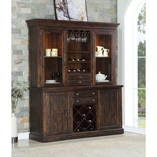 Napa Brown Wood/Glass Rustic Hutch Buffet