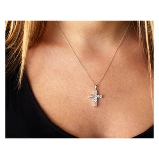 Link to Annello by Kobelli 1-1/5ct.tw Diamond Cross Pendant Necklace 14k Gold Similar Items in Necklaces