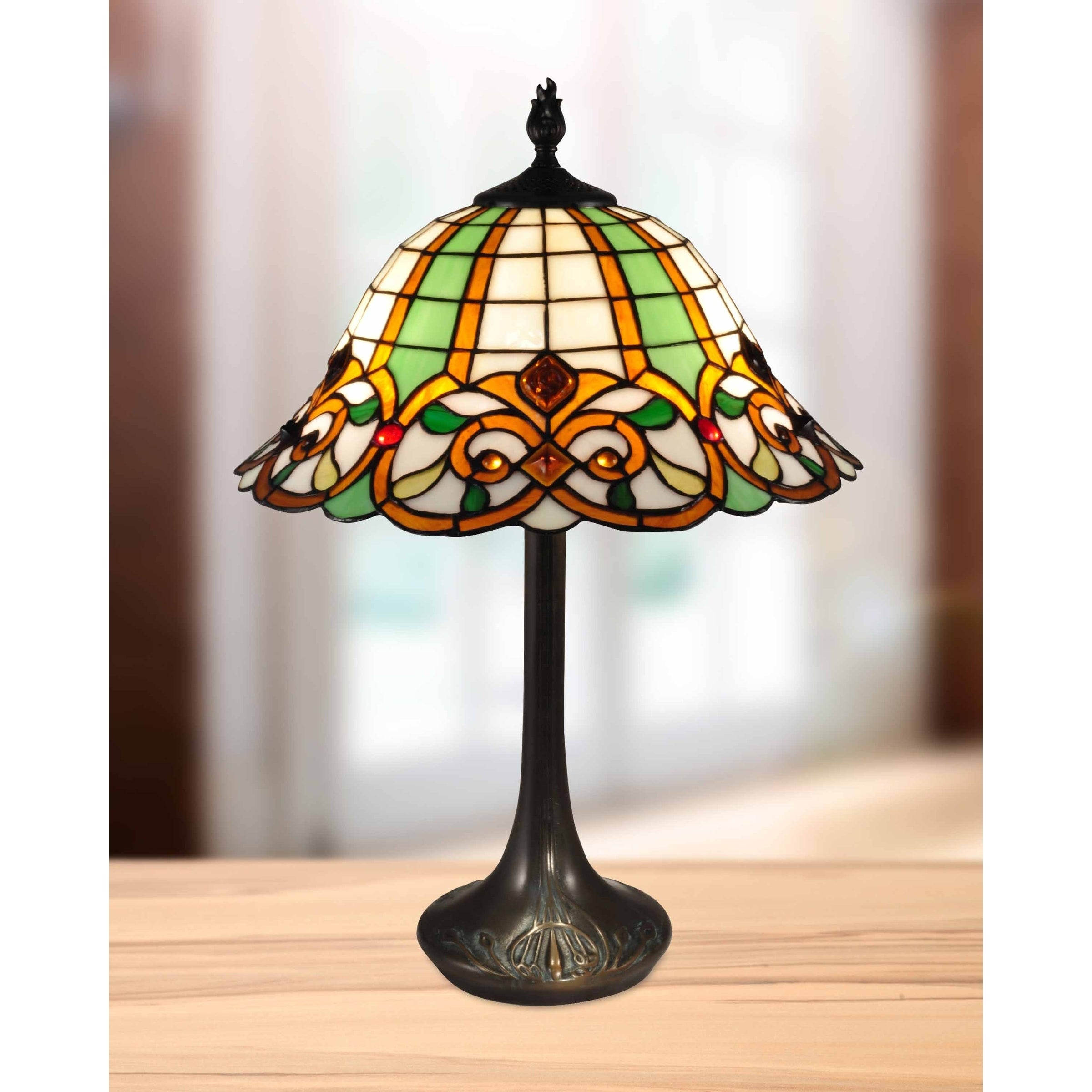 Vibrant Color Double Lit 24.5 H Green Table Lamp Stained