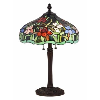 """Springdale 24.5""""H Fawn Dragonfly Tiffany Table Lamp"""