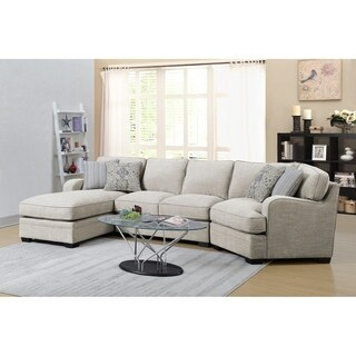 Emerald Home Analiese Ivory Tan Chofa Sectional, with Pillows, Track Arms, Welt Seaming, And Block Feet