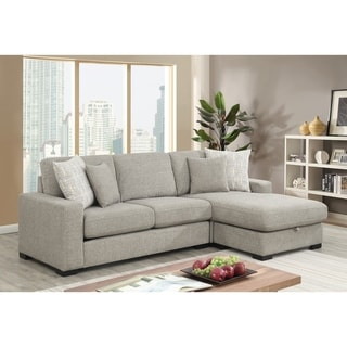 Emerald Home Brahms Gray Reversible, Convertible Sectional W/Storage with Reversible Chaise And Hidden Storage