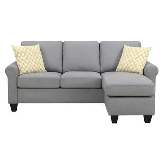 Emerald Home Claudette Soft Gray Reversible Sectional, with Pillows, Reconfigurable Sectional To Sofa With Ottoman