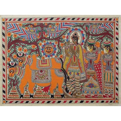 Handmade Krishna With Cows Madhubani Painting (India) - primary or jewel colors