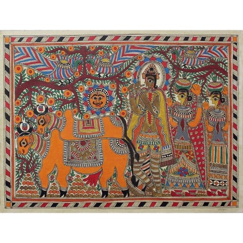 Handmade Krishna With Cows Madhubani Painting (India) - primary or jewel colors