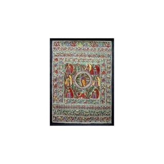 Handmade Krishna With Village Women Madhubani Painting (India) - Multi-color