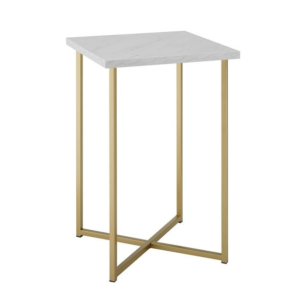 "Offex 16"" Glam Accent Square Side Table with White Marble Top and Gold Legs"