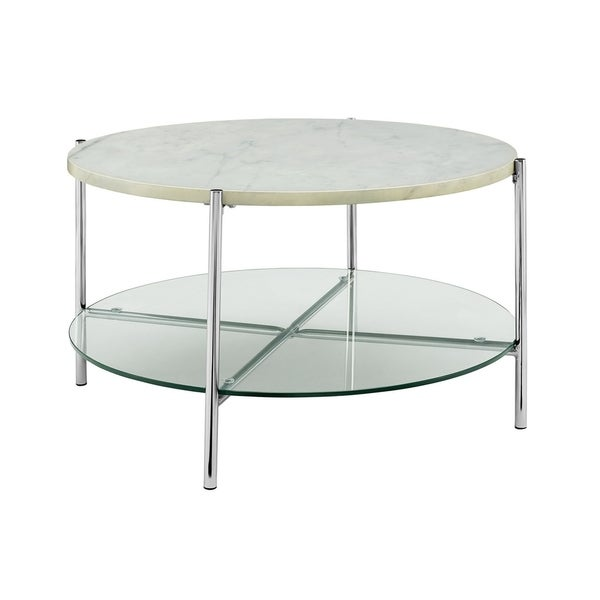 "Marble Glass Top Coffee Table: Shop Offex 32"" Mid Century Modern Round Coffee Table With"