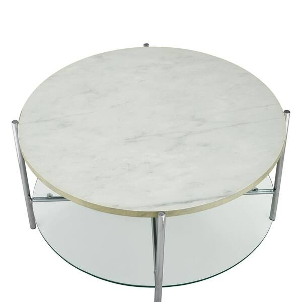 Shop Offex 32 Mid Century Modern Round Coffee Table With White